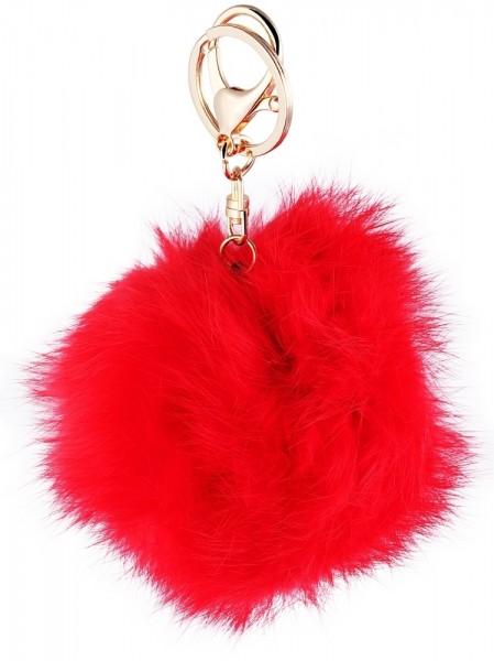 Taschenanhänger, Echtes Fell, rot, Ø 9 cm