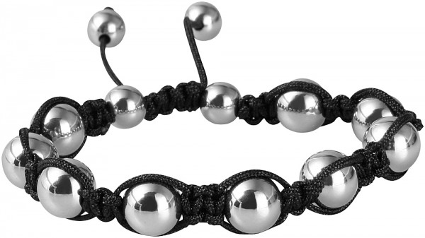Akzent Textil Armband mit Edelstahlkugeln, silber farbig, Ø 8 mm, Länge 16 cm