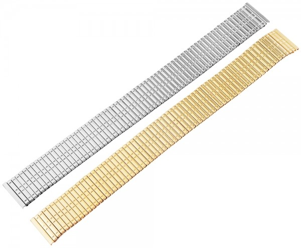 Zugband Metall Armband in silber & gold poliert, 18 mm