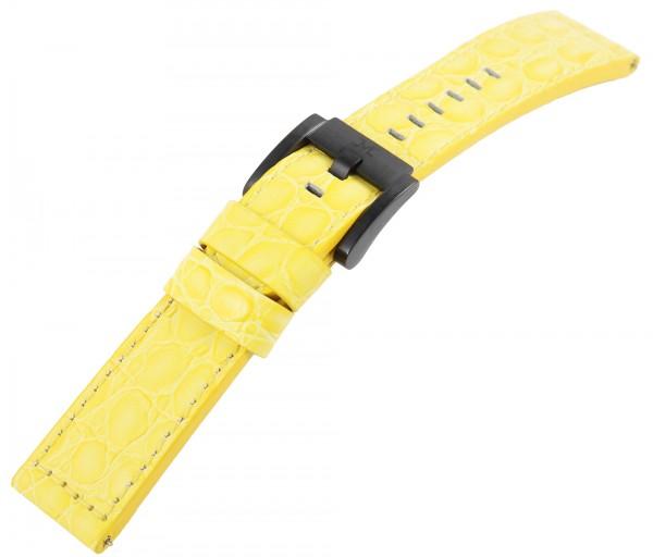 TW Steel Echt Leder Armband, 22 mm, gelb, schwarze Schließe