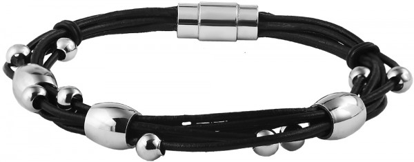 Akzent Lederimitationsarmband mit Edelstahldetails