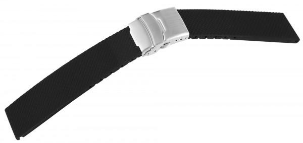Kautschukarmband mit Faltschließe, schwarz