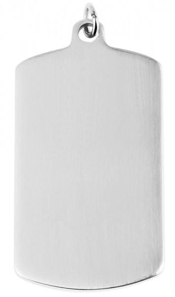 Akzent Edelstahl Gravurplatte als Anhänger, silberfarbig, Länge: 49 mm / Breite: 29 mm / Stärke: 2,5