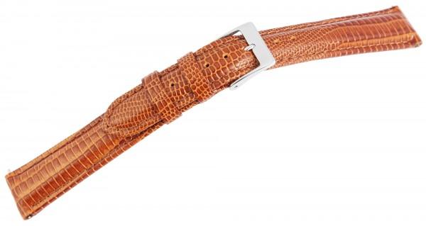 Echtleder-Uhrenarmband, braun, Schlangenoptik, 16 mm