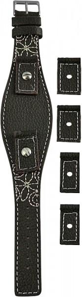 Hochwertiges Echt-Lederband, dunkelbraun, Set, Gr. 14, 16, 18