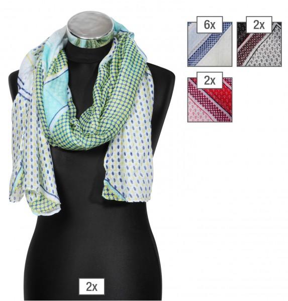 Schalpaket farblich sortiert,100% Polyester, 60x170cm, VE 12, jeder Schal verkaufsfertig mit Bügel a