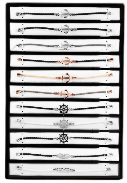 "Shaghafi 11 Armbänder Leder ""Damen Motive"" im Display"