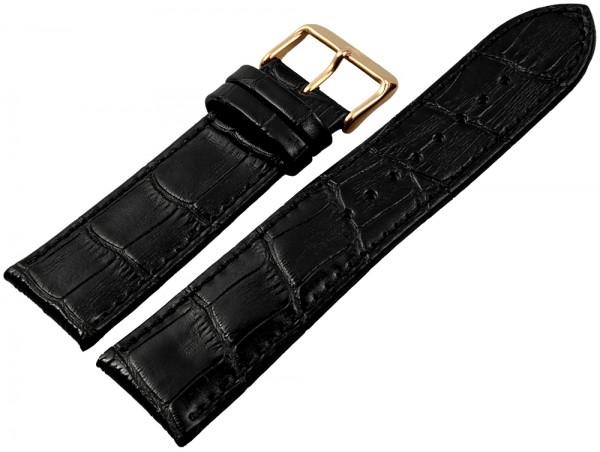 Basic Echtleder Armband in schwarz, Kroko, gepolsterT
