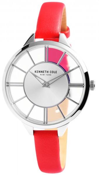 Kenneth Cole Damenarmbanduhr, silberfarben/rot