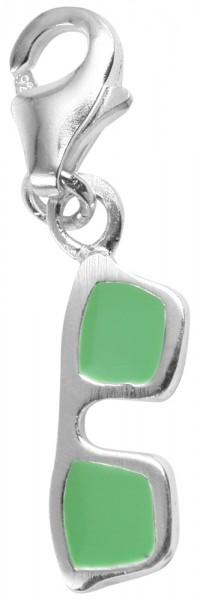 Akzent 925 Sterling Silber Charm, Motiv Sonnenbrille, grün, Maße 3 mm x 10 mm