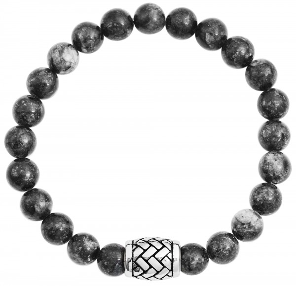 Akzent Edelstahl Kugelarmband, Naturstein, grau, schwarz,