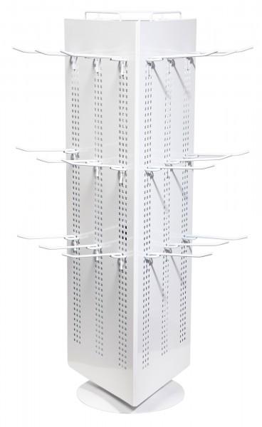 Verkaufsständer, Metall, weiß, 3-seitig, 70 cm x 40 cm x 45 cm