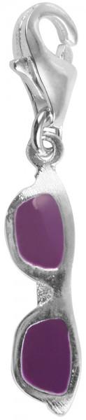 Akzent 925 Sterling Silber Charm, Motiv Sonnenbrille, lila, Maße 3 mm x 15 mm