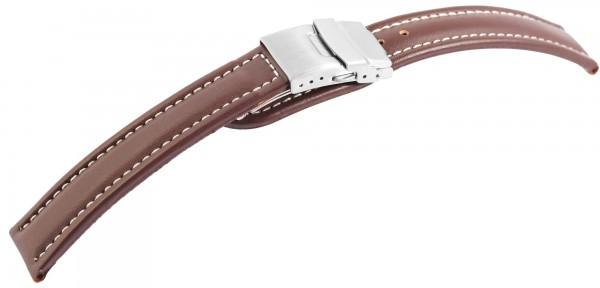 Echtleder-Uhrenarmband, braun, weiße Naht, Faltschließe, 16 mm - 24 mm