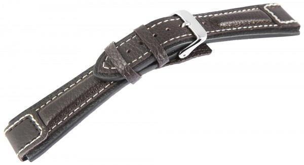 Echtleder-Uhrenarmband, dunkelbraun, weiße Naht, 20 mm - 24 mm