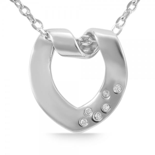925 Echt Silber Anhänger ohne Kette, zirkoniabesetztes Herz, 925/rhodiniert