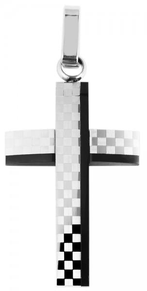 Akzent Kreuz Edelstahlanhänger mit IP Beschichtung in schwarz und silberfarbig, Länge: 36 mm / Breit