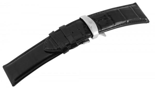 Echtleder-Uhrenarmband, schwarz, Krokooptik, Butterfly-Faltschließe, 26 mm