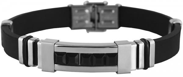 Akzent Kautschuk Armband mit Edelstahlelementen und schwarzen Glassteinen, Breite 12 mm, Länge 22 cm