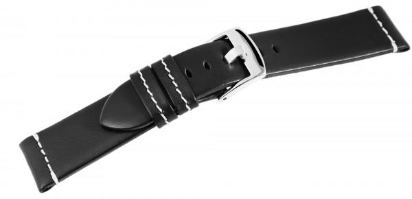 Echtleder-Uhrenarmband, schwarz, weiße Naht, 18 mm - 24 mm