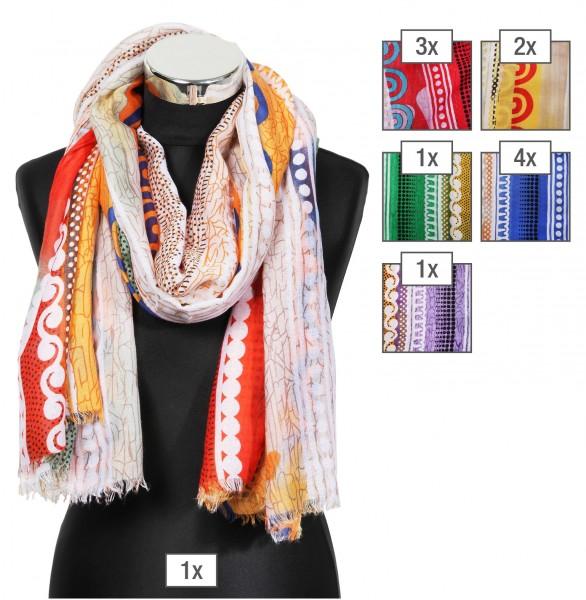 Schalpaket farblich sortiert, 100% Polyester, 90x180cm, VE 12, jeder Schal verkaufsfertig mit Bügel