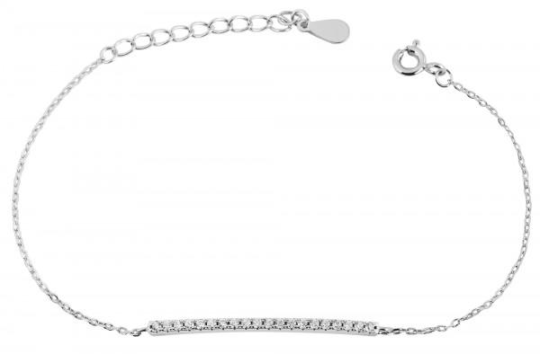 925 Echt Silber Armband mit länglichem Element, Zirkoniabesatz, 16+3 cm, 925/rhodiniert