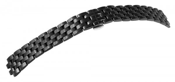 Edelstahl-Uhrenarmband, schwarz, Butterfly-Faltschließe, 18 mm - 24 mm