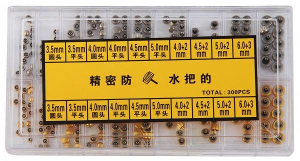 Uhrenkronen Sortiment, sortiert, 300 Stück, Ø 3,5 mm - 6,0 mm