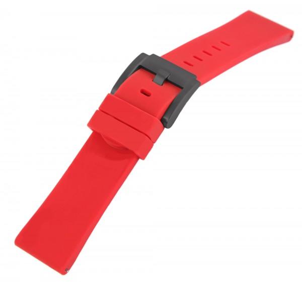 TW Steel Silikonband, 22 mm, rot, schwarze Schließe