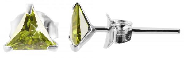 925 Echt Silber Ohrstecker, dreieckiger Zirkonia, 925/rhodiniert