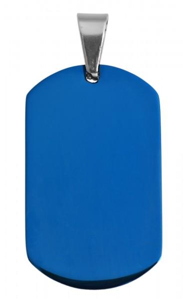 Akzent Edelstahl Gravurplatte als Anhänger mit IP Beschichtung in Blau, Länge: 37 mm / Breite: 22 mm