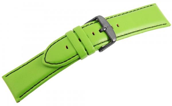 Echtleder Ersatzarmband, grün, schwarze Naht, Dornschließe