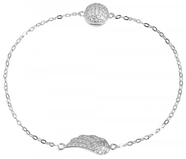 925 Silber Damen Armband mit Flügel, Feder, Engel Anhänger mit 57 klaren Zirkonia Steinen und Magnet