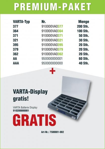 Varta Premiumpaket, 550 Batterien sort., + Powerbank gratis