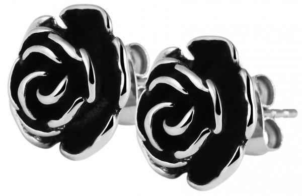 Akzent Edelstahl Ohrstecker, Blume, Durchmesser: 1,2 cm / Stärke: 0,6 cm