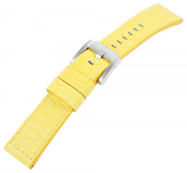 TW Steel Echt Leder Armband, 22 mm, gelb silberf. Schließe