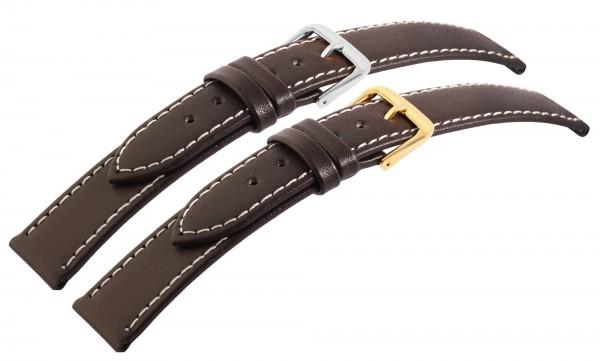 Echtleder-Uhrenarmbänder, dunkelbraun, weiße Naht, VE 10, 18 mm - 24 mm