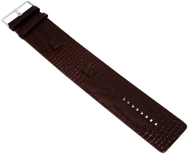 Raptor Echtleder-Uhrenarmband, rotbraun, Krokooptik, 12 mm