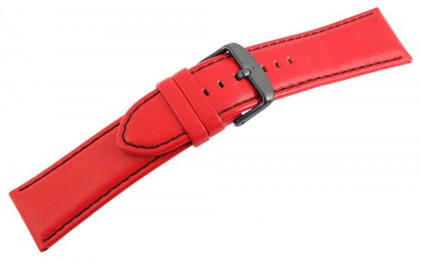Echtleder Ersatzarmband, rot, schwarze Naht, Dornschließe