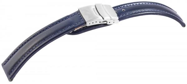Echtleder-Uhrenarmband, blau, Faltschließe, 16 mm - 24 mm