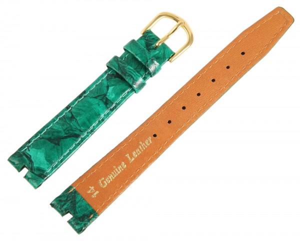 Echtleder-Uhrenarmband, grün, 14 mm