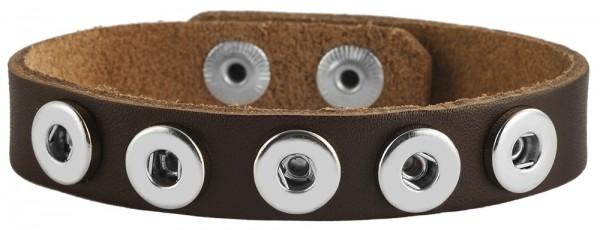 """Cham Cham """"Small Size"""" Echt Leder Armband für kleine Druckknöpfe, VE 6, dunkelbraun, 26 cm"""