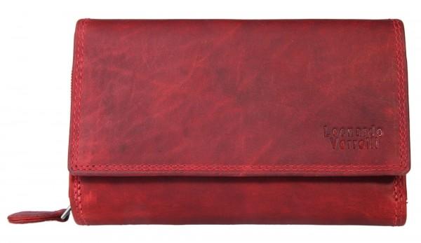 Leonardo Verrelli Damengeldbörse aus Echt Leder, RFID Safe