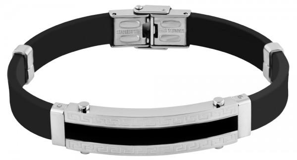 Akzent Das Schmuckarmband aus Edelstahl und Kautschuk in Schwarz mit IP Black-Beschichtung