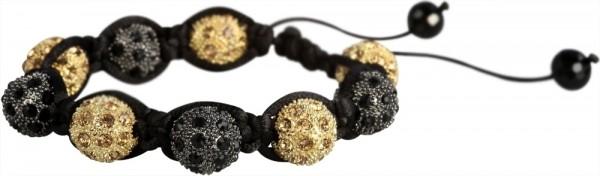 Akzent aus Textil und Edelstahl in Schwarz mit IP Gold-Beschichtung