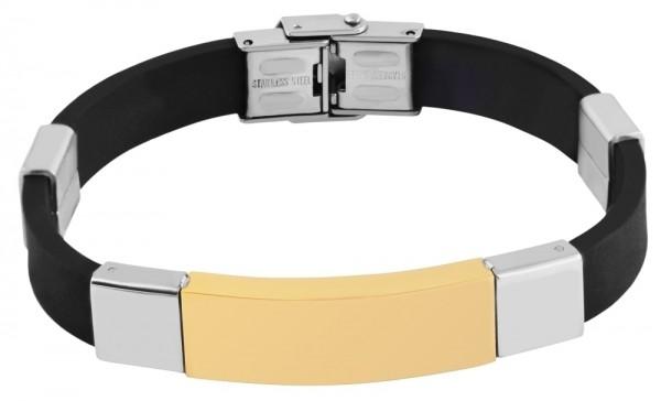 Akzent Das Schmuckarmband aus Kautschuk und Edelstahl in Bicolor mit IP Gold-Beschichtung