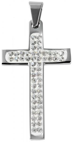 Akzent Kreuz Edelstahlanhänger, silberfarbig, Länge: 45 mm / Breite: 25 mm / Stärke: 4 mm