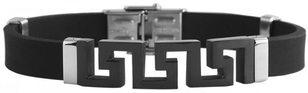 Akzent Das Schmuckarmband aus Kautschuk und Edelstahl in silberfarbig mit IP Black-Beschichtung