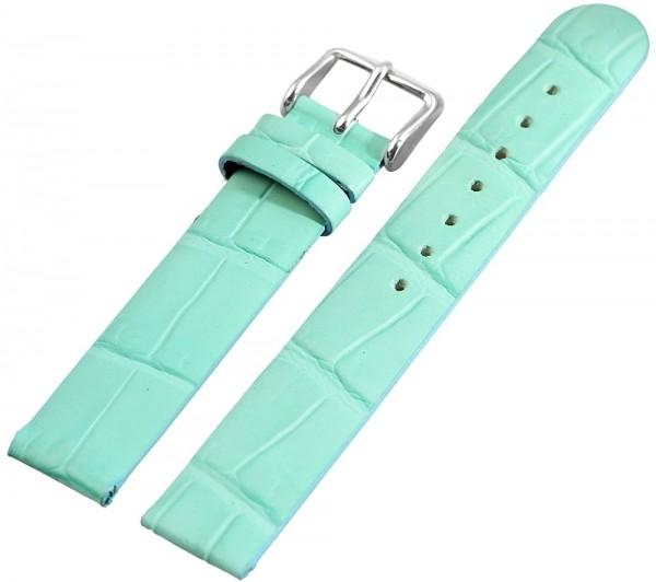 Basic Echtleder Armband in hellgrün, Kroko, flach, 16 mm