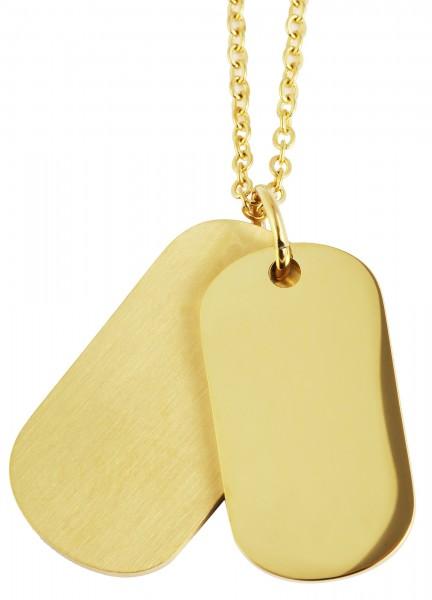 Akzent Edelstahlkette mit gravurfähigen Anhängern mit IP Beschichtung, goldfarbig, Maße der Kette: L